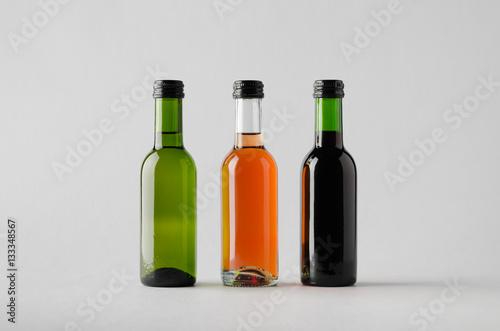 Fotografie, Obraz  Wine Quarter/Mini Bottle Mock-Up - Three Bottles