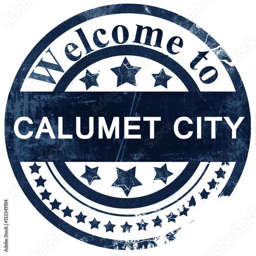 Fényképezés calumet city stamp on white background