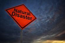 Orange Storm Road Sign Of Natural Disaster