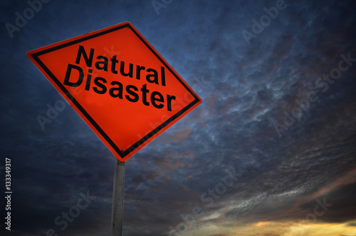 Orange storm road sign of Natural Disaster Fototapete