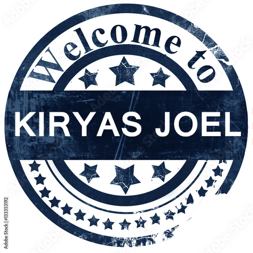Photo  kiryas joel stamp on white background
