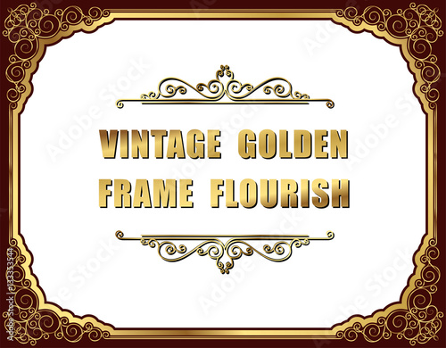 Stampa su Tela  Gold photo frame with corner thailand line floral for picture, Vector design decoration pattern style