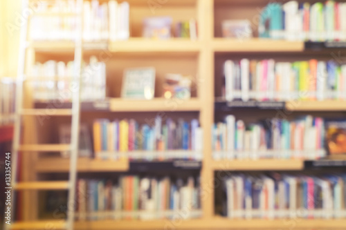 Blurred Bookshelf In Library Room For Your Background Design
