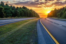 Summer Sunset Over Interstate