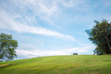 Green Grass On The Hills With Clear Blue Sky, Doi Samer Dao, Nan, Thailand