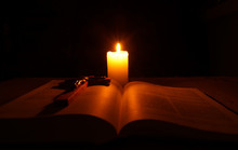 Burning Candle,  Open Bible An...