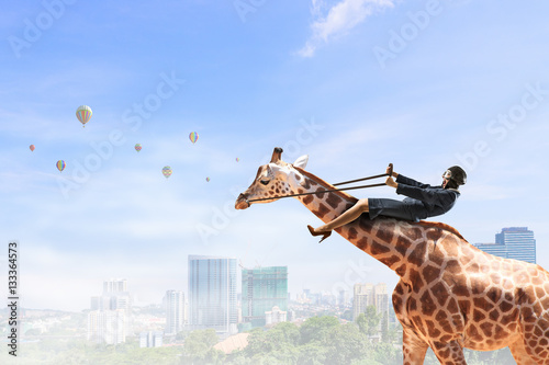Woman ride giraffe . Mixed media