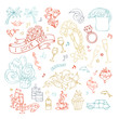 Vector set of outlined Valentine's icons, signs and symbols.