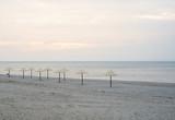 Sun umbrellas are on the beach - 133373539
