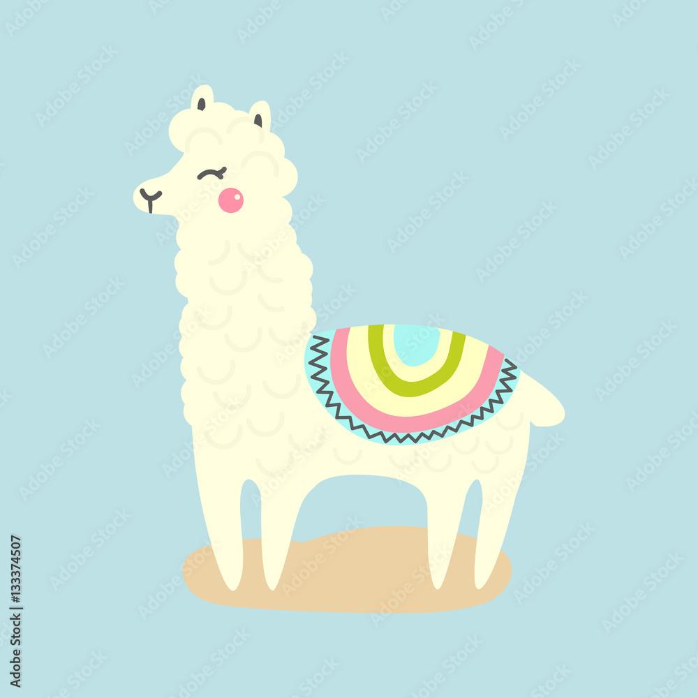 Image of: Newt Poster Foto Vector Cute Llama Or Alpaca Illustration Funny Animal Koop Op Europostersnl Europosters Poster Foto Vector Cute Llama Or Alpaca Illustration Funny Animal