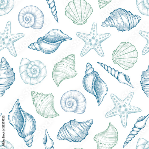 Fotografia Hand drawn vector illustrations - seamless pattern of seashells