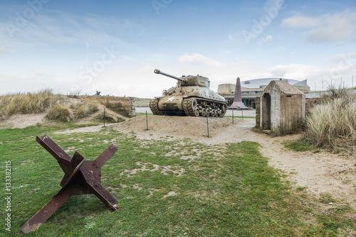 Photo American tank on Utah Beach, Normandy invasion landing