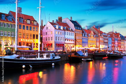Evening scenery of Nyhavn in Copenhagen, Denmark Wallpaper Mural