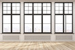 canvas print picture - Empty room with big windows and wood floor