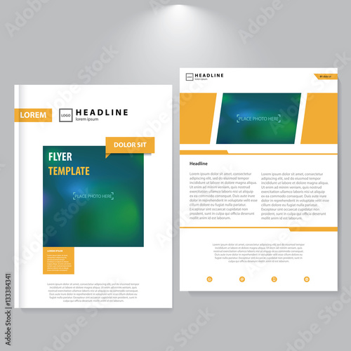 Advertising flyer design  Minimalistic style  Yellow shapes  Modern