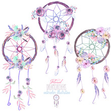 Illustration With Floral Dreamcatchers, Hand Drawn Isolated In Watercolor On A White Background