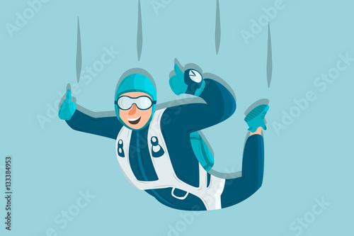 Fotografie, Obraz  Sky diving cartoon sportsman. Comic character