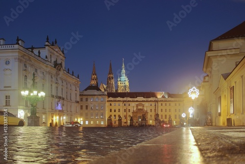 Deurstickers Krakau The castle and the cathedral, Prague by night, the famous romantic capital of Chech republic, Europe.