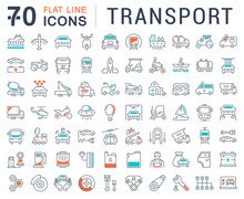 Set Vector Flat Line Icons Tra...