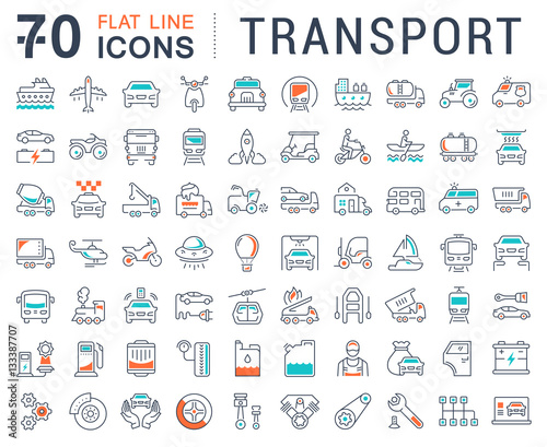 Photo  Set Vector Flat Line Icons Transport