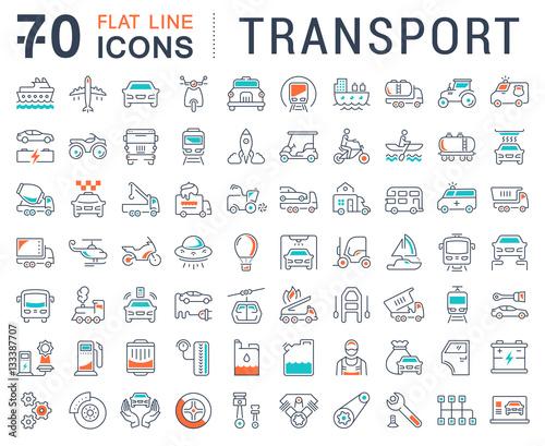 Fényképezés  Set Vector Flat Line Icons Transport