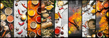 Food Collage Of Indian Spice A...