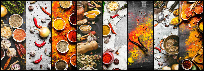 Fototapeta Przyprawy Food collage of indian spice and herb.