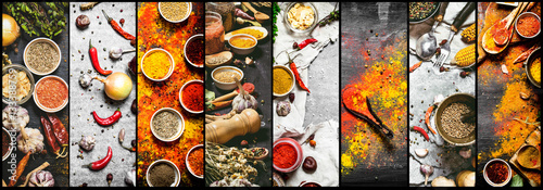 Food collage of indian spice and herb.