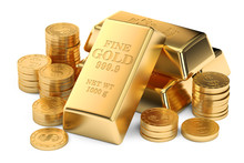 Gold Ingots And Coins, 3D Rend...
