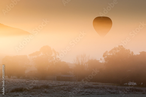 Fotografie, Obraz  Hot Air Balloon Rises Thru The Mist