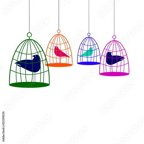 Poster de jardin Oiseaux en cage vector nature illustration bird art design graphic