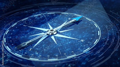 E-Business concept. Compass Direction On Digital Code Blue Background. 3d rendering