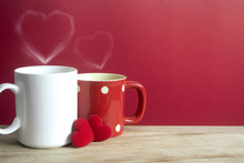 Two Coffee Cup And Two Heart