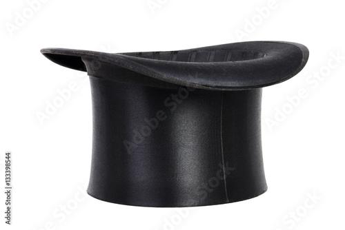 Schwarzer Hut, Zylinder isoliert weißer Hintergrund Fototapete
