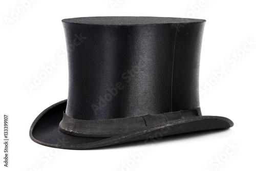 Cuadros en Lienzo  Schwarzer Hut, Zylinder isoliert weißer Hintergrund