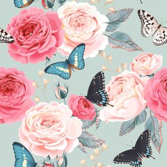 FototapetaSeamless peony roses and butterfly