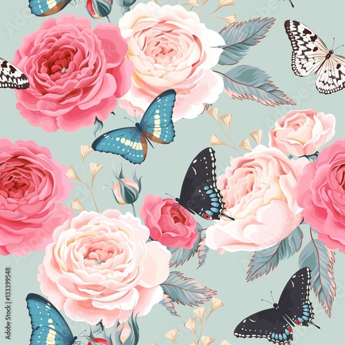 Seamless peony roses and butterfly - 133399548
