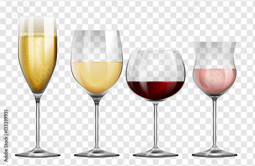 Photo  Four different kinds of wine glasses