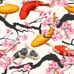 NaklejkaKoi fish and sakura seamless