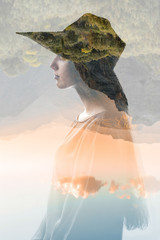 Portrait of young woman with hat with double exposure technic combinated with beautiful mountain landscape