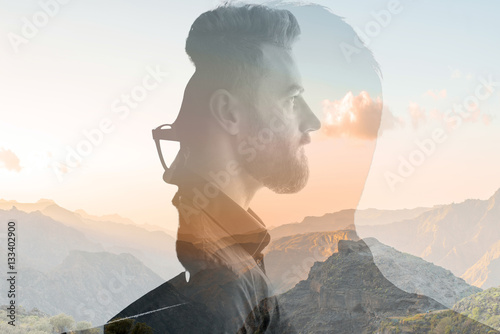Fotografie, Obraz  Triple exposure portrait of a businessman combinated with beautiful mountain lan