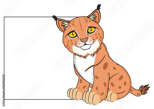 Deurstickers Babykamer animal, cat, lynx, orange, brush, yellow eyes, spots, spotted, zoo, sit, paper, clean