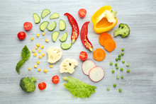 Fresh Vegetables On Wooden Background, Top View