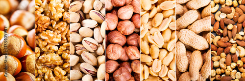 obraz PCV collage of mixed nuts