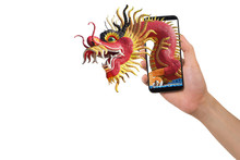 Human Hand Hold Smartphone, Tablet, Cell Phone With Big Dragon.