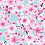 Seamless pink Sakura flowering cherry. EPS 10