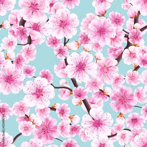 Cotton fabric Seamless pink Sakura flowering cherry. EPS 10