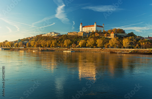 Bratislava castle,parliament and Danube river and beautiful fall day,Slovakia