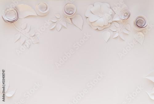 Staande foto Bloemen 3d floral frame, white paper flowers