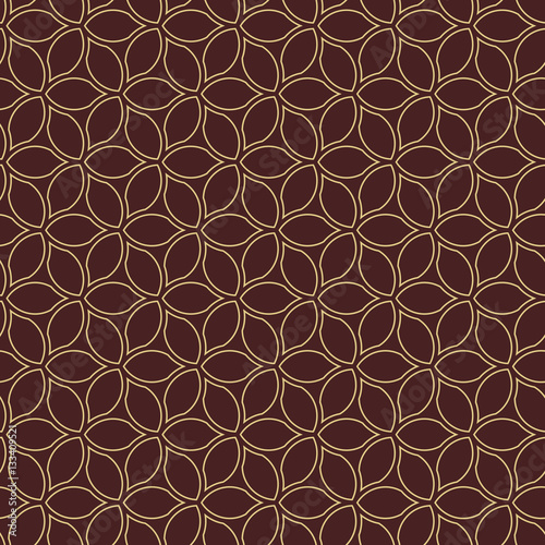 Fototapety, obrazy: Seamless brown and golden background for your designs. Modern vector ornament. Geometric abstract pattern